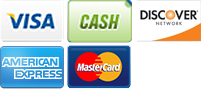 We accept Visa, Cash, Discover, American Express and MasterCard.